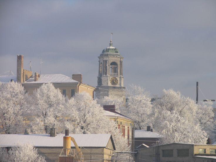 Выборгский замок зимним днем