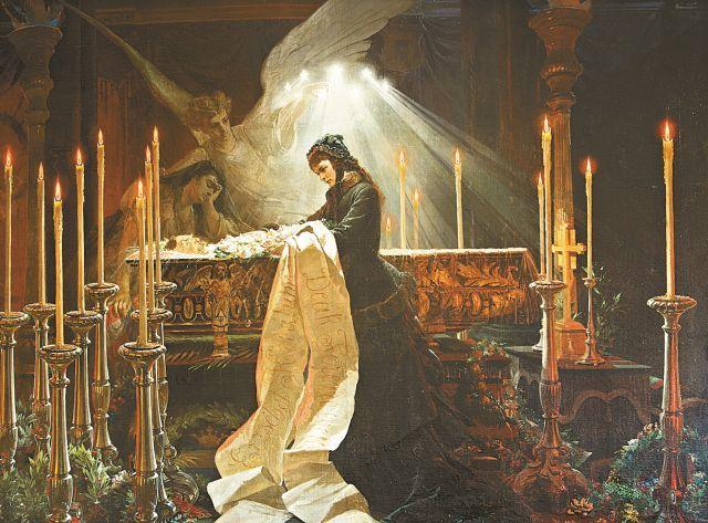 Erzsébet királyné Deák Ferenc ravatalánál (részlet). A történelmi pillanatot allegorikus alakokkal együtt ábrázolta a művész (Forrás: Gödöllői Királyi Kastély)