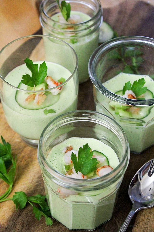 Cucumber Wasabi Gazpacho      2 large English cucumbers, peeled, scooped, and chopped     4 green onions, chopped     Handful celery leaves, torn     Handful mint leaves, torn     1 cup sour cream     1/3 cup olive oil     1 teaspoon apple cider vinegar     1 teaspoon wasabi paste     Salt     Diced celery, garnish     Diced cooked shrimp, garnish     Diced cucumber, garnish   Read more: http://www.fromaway.com/cooking/cucumber-wasabi-gazpacho#ixzz2YNI4GJb6