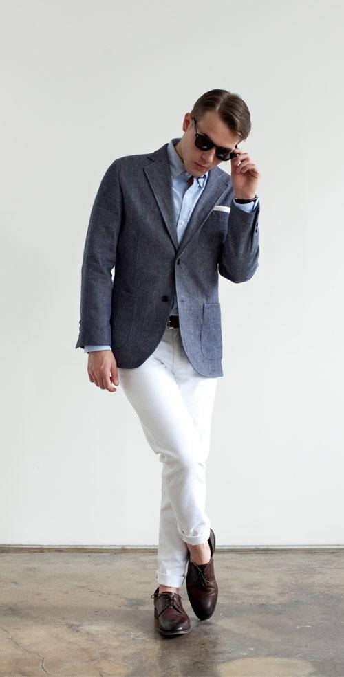 Chambray BOHO Blazer & Original Denim Trouser WhiteLinen & Cotton