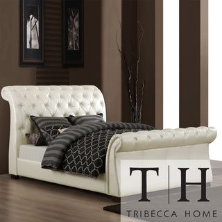 @Overstock.com - TRIBECCA HOME Castela Soft White Faux Leather King Sleigh Bed - This Castela bed features sturdy Asian wood construction with soft white faux leather upholstery. The sleigh design and tufted headboard add an elegant touch to any room.  http://www.overstock.com/Home-Garden/TRIBECCA-HOME-Castela-Soft-White-Faux-Leather-King-Sleigh-Bed/5943190/product.html?CID=214117 $1,091.99