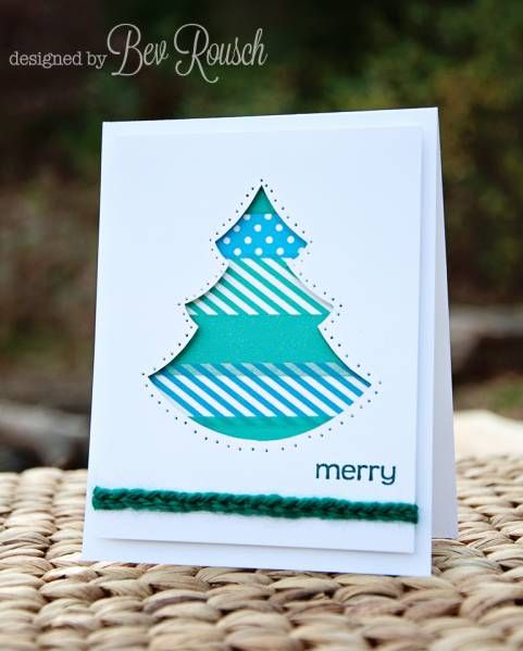 Washi Christmas Tree- you could do this for any holiday card or birthday!