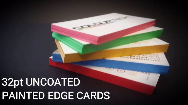 "Show your true COLOURS and EDGE out the competition!  Standard business card size (3.5"" x 2"") printed on 32pt Ultra Thick uncoated white stock. Full colour 2 sides. Your choice of painted edge colour from our selection. Choose a template, upload your own artwork or ask about custom design.  http://www.colourtech.com/generalstore/cards-painted-edge.php"