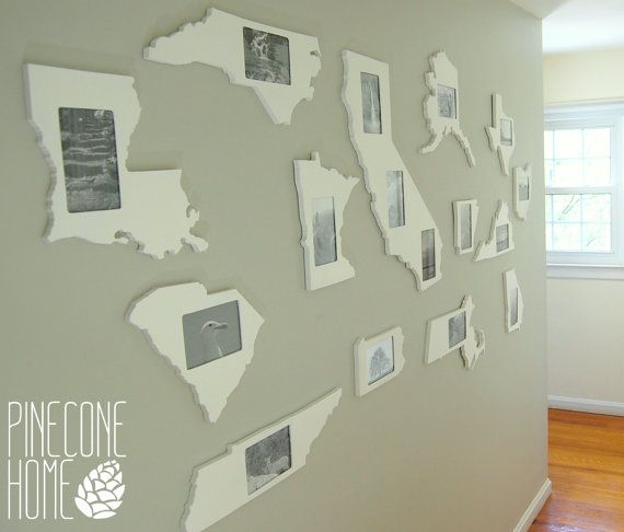 State shaped 4x6 picture frame by PineconeHome on Etsy