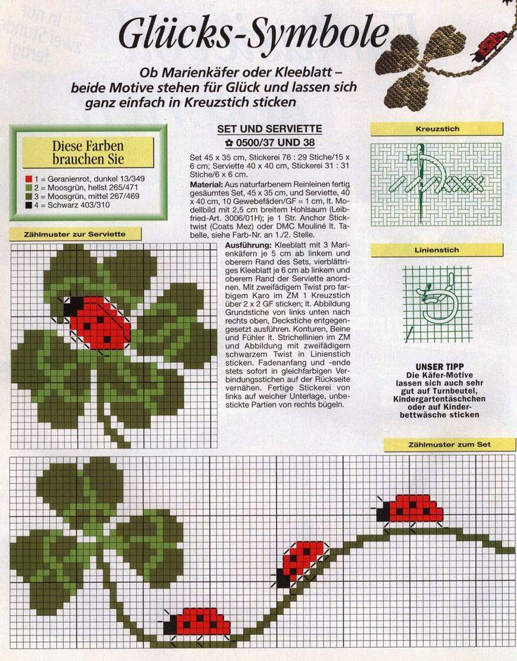 Cross-stitch Clovers & Ladybugs...    Joaninhas no Trevo da Sorte em Ponto Cruz