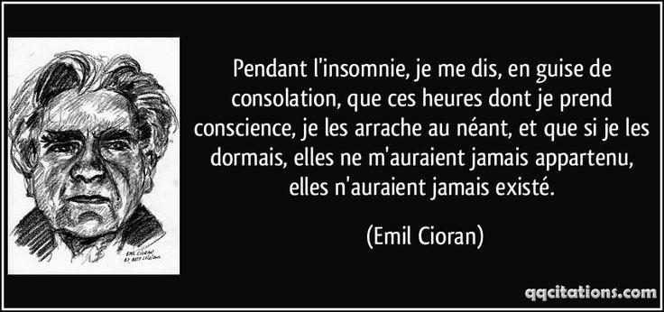 Pendant l'insomnie, je me dis, en guise de consolation, que ces heures dont je prend conscience, je les arrache au néant, et que si je les dormais, elles ne m'auraient jamais appartenu, elles n'auraient jamais existé. - Emil Cioran