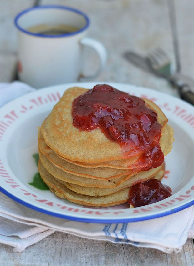 Multi Grain Pancakes with Rhubarb and Strawberry jam