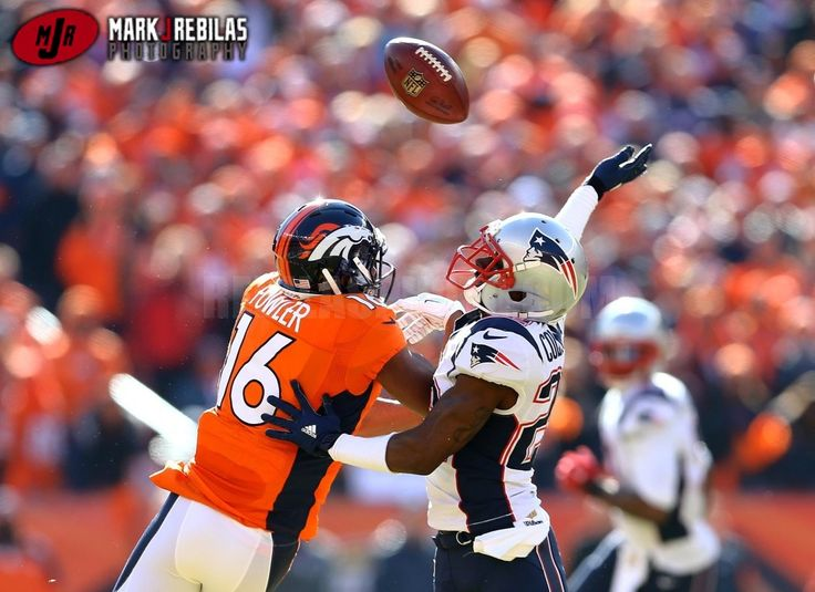 Canon 1Dx, 400mm, 400iso, f3.2, 1/1600th, Aperture Priority New England Patriots cornerback Justin Coleman (22) breaks up a pass intended for Denver Broncos wide receiver Bennie Fowler (16) in the first half in the AFC Championship football game at Sports Authority Field at Mile High. Mandatory Credit: Mark J. Rebilas-USA TODAY Sports