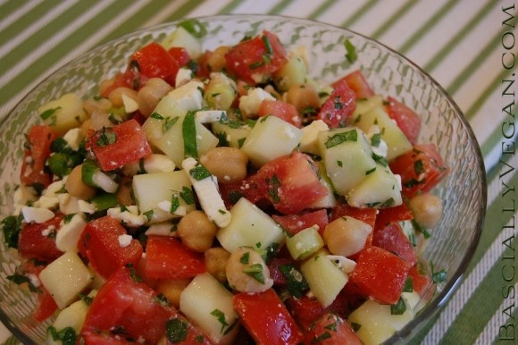 Middle Eastern Vegetable Salad. Recipe available at BasicallyVegan.com ...