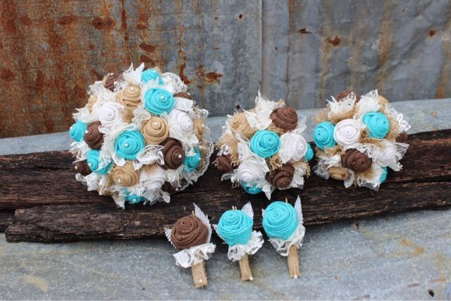 turquoise / jade burlap and lace wedding bouquets and boutonnieres