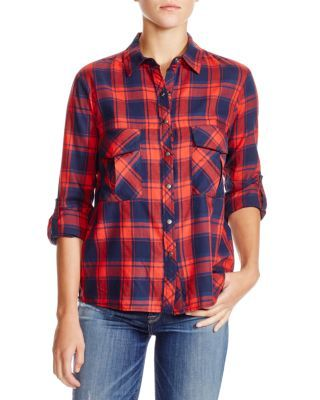 Another new purchase - couldn't resist the sale! AQUA Vas Plaid Cotton Shirt | Bloomingdale's