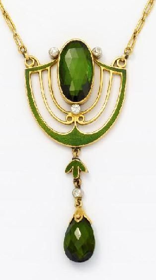 Jugendstil. Pendant necklace with Tourmaline, Gold, Silver & Green Enamel.