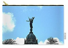Carry-all Pouch featuring the digital art Cuba Rooftop W Protection Statue by Francesca Mackenney