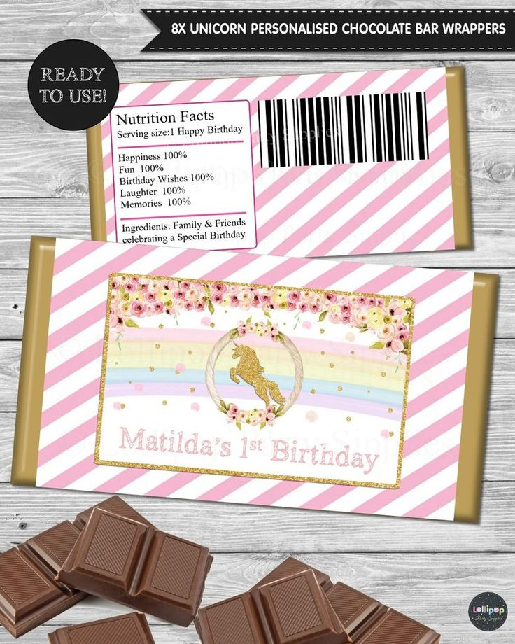 8x RAINBOW UNICORN PERSONALISED CHOCOLATE BAR WRAPPERS PEEL & STICK FAVOUR PARTY #PersonalisedChocolateWrappers #BirthdayParty
