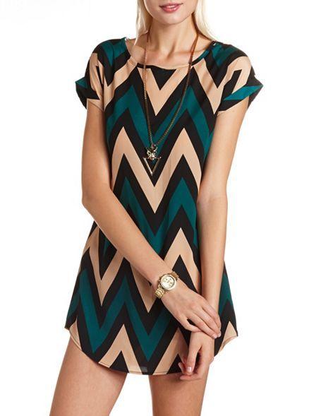 Chevron Print Shift Dress: Charlotte Russe