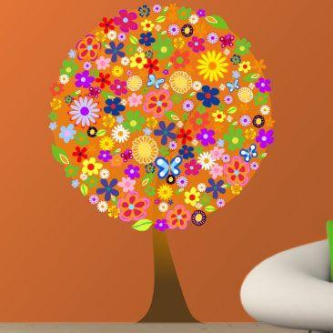 Δέντρο  από λουλούδια,  αυτοκόλλητο τοίχου