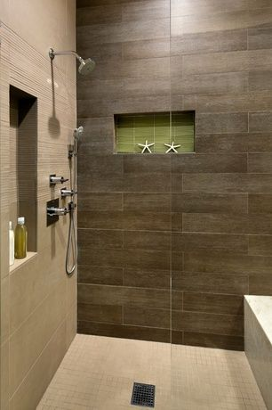 Contemporary 3/4 Bathroom with Marazzi riflessi di legno 23-7/16 in. x 5-13/16 in. walnut porcelain floor and wall tile
