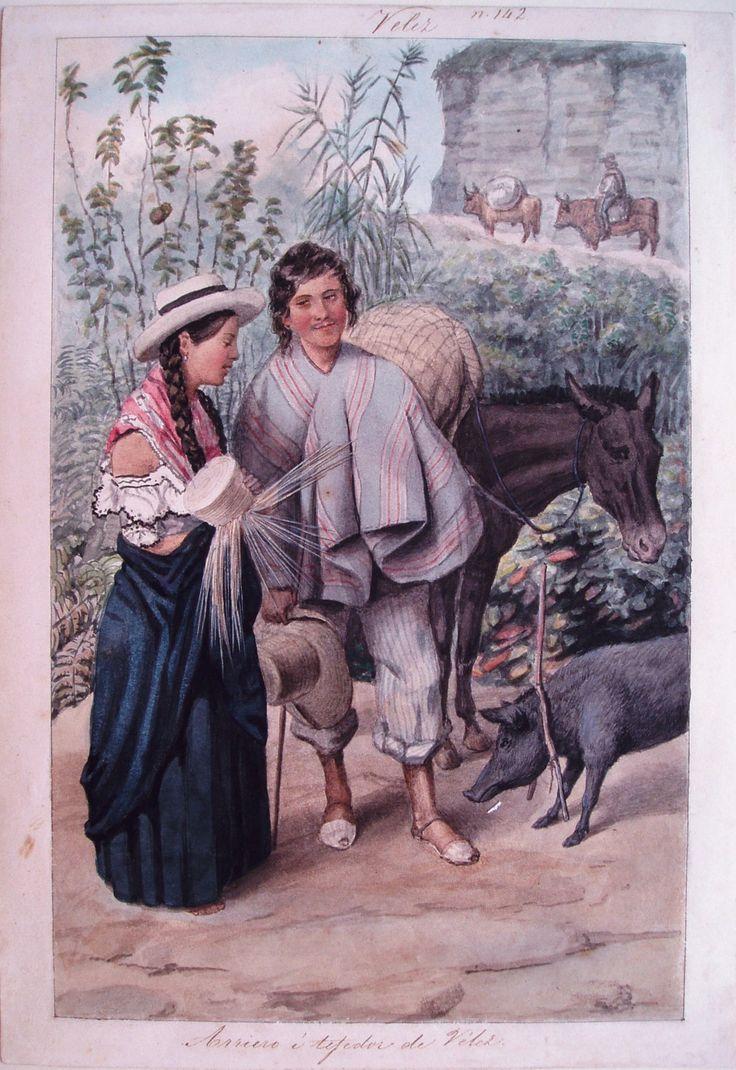 """""""Arriero y tejedor de Vélez"""". Carmelo Fernández, 1850. BNC, 5122."""