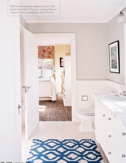 Love the idea of a neutral bathroom with a pop of color and pattern