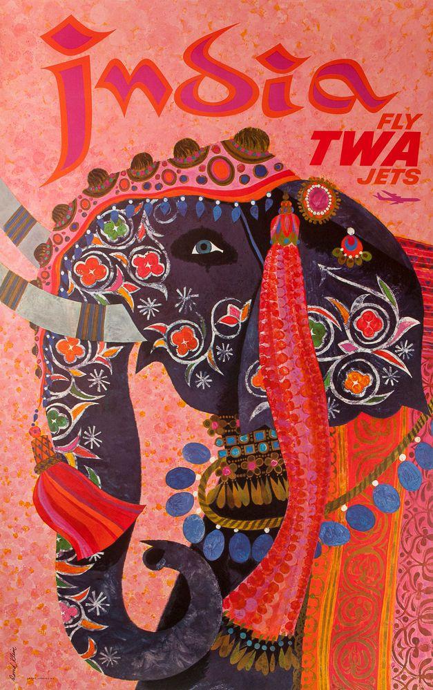 India, Fly TWA Jets. Klein, David. Travel Poster