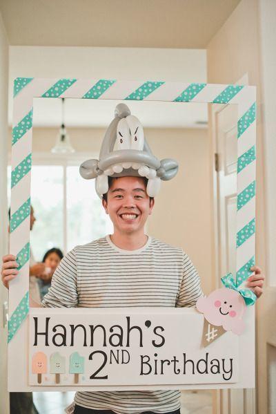Craft a funky fun FRAME for a portable DIY Photo Booth. Cute idea. Nice shark hat.: