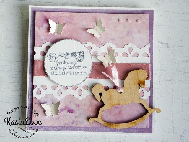 KasiuLove: prosta kartka sztalugowa na narodziny dziewczynki - easel card for a newborn baby girl