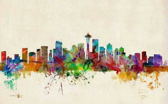 Seattle # watercolor cool piece