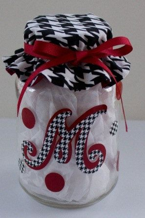 love this!  Recycle any jar - this would make an easy & relatively inexpensive gift, fill with candy and there ya go! Really cute but would be better in purple an gold