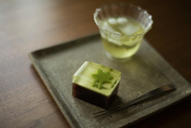 Japanese cold green tea and sweets -Mizu yokan-  水ようかん