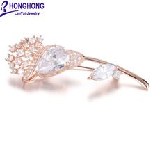 HONGHONG Cubic zirconia Plant Brooches Pins For Women High Quality Flower Brooch Wedding Dress Jewelry Accessories Free Shipping(China (Mainland))