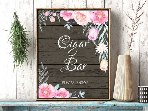 Printable Cigar Bar wedding sign. Floral by PrintableMemoriesCo