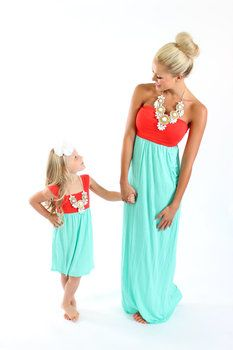 Dark Coral and Mint Cinched Straps Maxi Dress - Ryleigh Rue