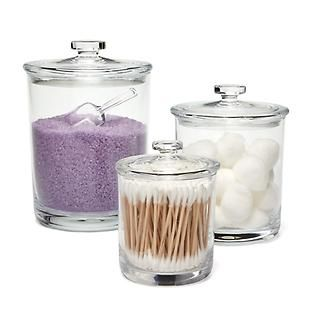 Bliss Acrylic Canisters - perfect for bath salts, cotton swabs, cotton rounds, and other bathroom items.
