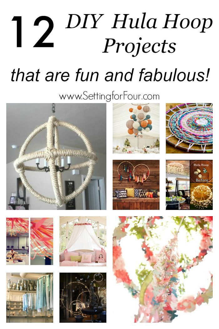 12 DIY Hula Hoop Projects that are fun and fabulous! Decorate your home with style on a budget with everyday hula hoops! Lighting, wall art, canopies and more at www.settingforfour.com