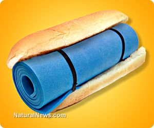 Azodicarbonamide yoga mat chemical confirmed in 500  everyday foods and grocery items, including natural and 'healthy' products.  Complete list www.ewg.org/research/nearly-500-ways-make-yoga-mat-sandwich