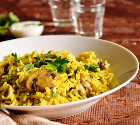 Рис басмати и грибы - постный плов по-ирански