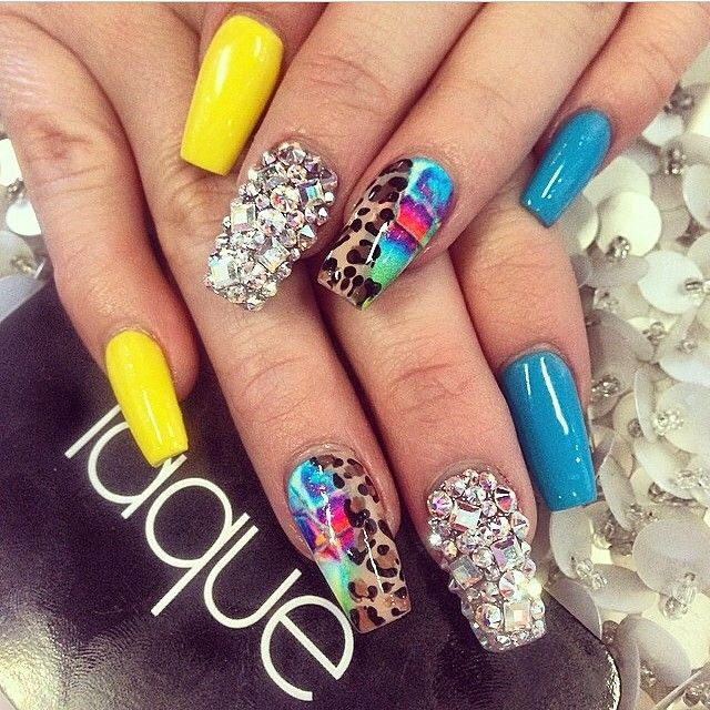 Not crazy about all the colors but those rhinestones wow