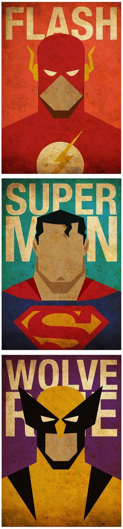 8 x 10 super-héros affiches 6 pour 45 Dollars par MyGeekPosters