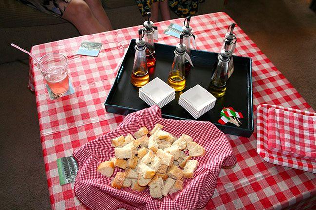 Italian Themed Bridal Shower // oil and vinegar tasting
