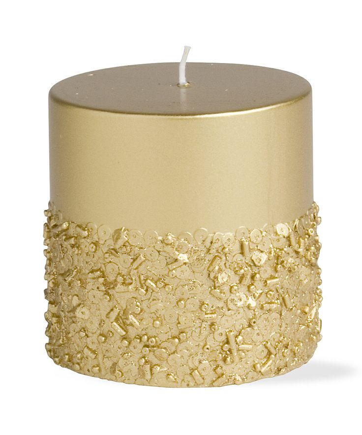 Gold Sparkle Short Pillar Candle | DIY inspiration