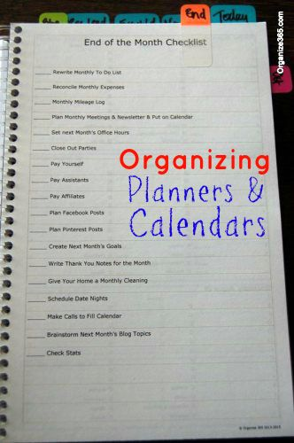 Organizing Planners and Calendars