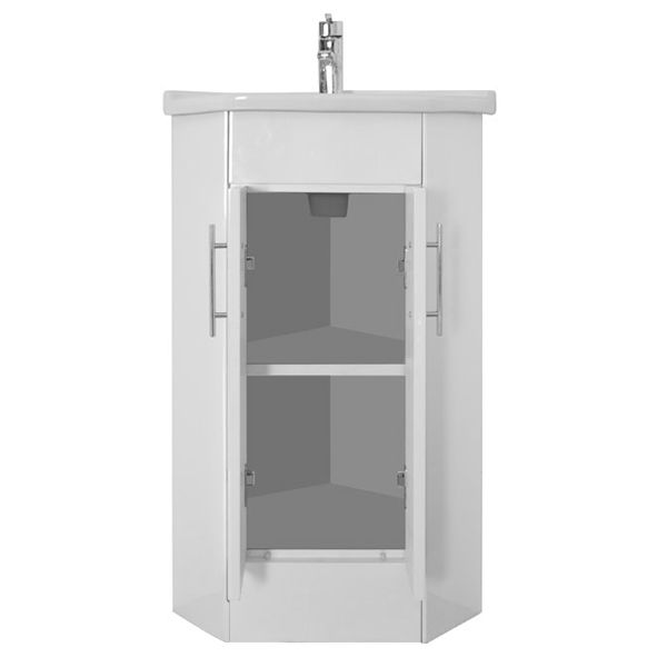 Premier High Gloss White Corner Cabinet Vanity Unit With Basin Online