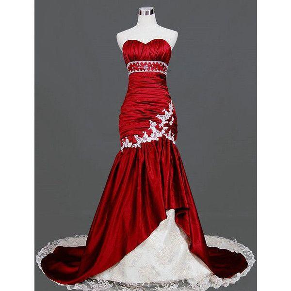Mermaid Wedding Dresses Polyvore : Trumpet mermaid sweetheart chapel train taffeta tulle