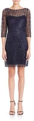 Kay Unger Sequined Crochet Sheath Dress