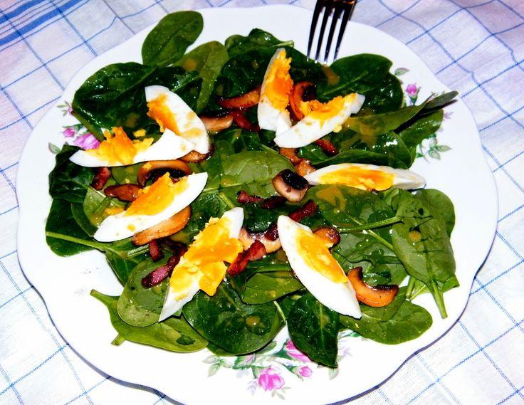 PaniKa w kuchni: Sałatka ze szpinaku z jajkiem, bekonem i pieczarka...