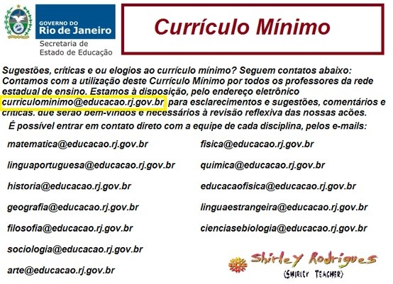 SEEDUC/RJ - Curriculo Mínimo Internet Site,  Website, Web Site