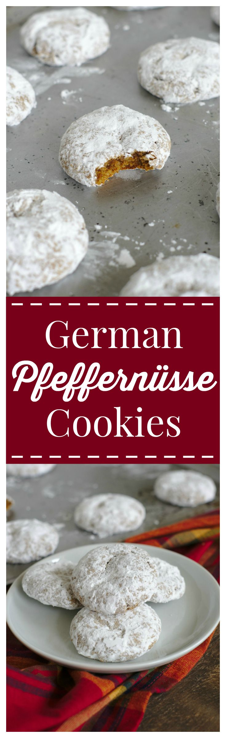 German Pfeffernusse Cookies – A traditional spiced German cookie covered in powdered sugar. The perfect cookie for a Christmas cookie exchange!