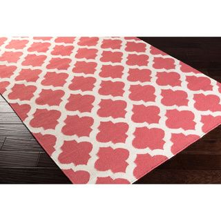 Hand Woven Taylor Moroccan Trellis Geometric Flatweave Wool Rug (2u0027 X 3u0027) ( Coral), Orange, Size 2u0027 X 3u0027