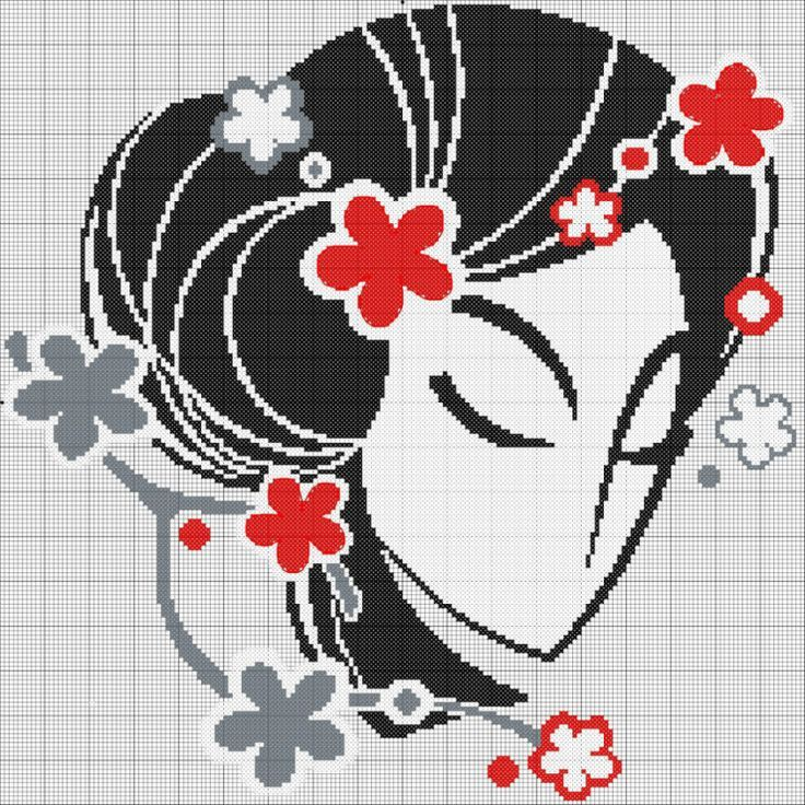 0 point de croix visage et fleurs - cross stitch face and flowers