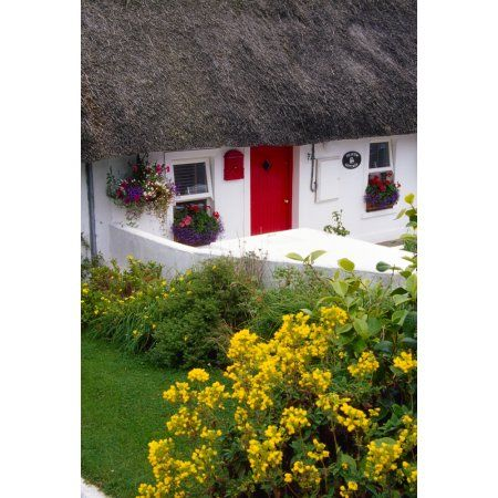 Dunmore East Harbour County Waterford Ireland Thatched Cottage Canvas Art - Richard Cummins Design Pics (12 x 18)